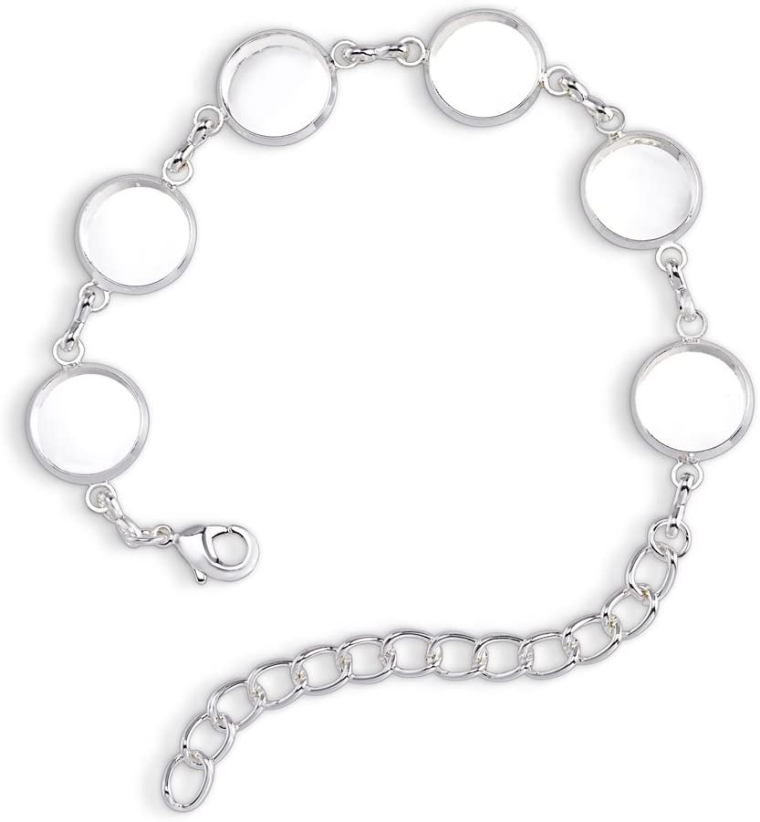 10 Pieces 20mm Alloy Bracelet Chain Settings Adjustable Bezel Bracelet Chains and 10 Pieces 20mm Round Glass Cabochons for Bracelet Jewelry Making DIY Crafts