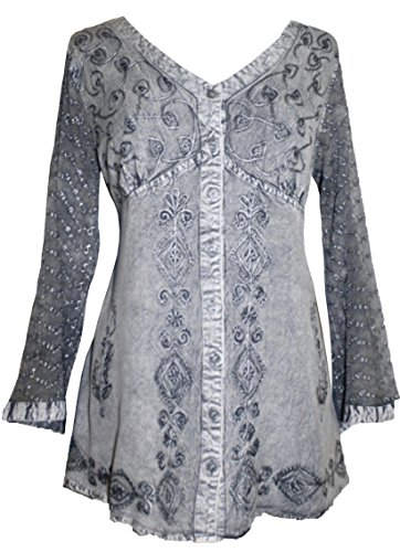 7bde1d4851 Agan Traders 151 B Medieval Victorian Gothic Embroidered Sheer Lace Sleeve  Blouse