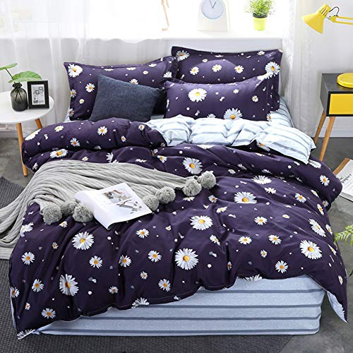 Purple Flower Comforter Sets Twin with 1 Comforter Cover 1 or 2 Pillow Covers 1 Flat Sheet-3 or 4pcs with Pattern Printed Small Daisy Duvet Cover Set Zipper Closure Quilt Bedding Set for Girls Boys (Flowers Daisy Twin)