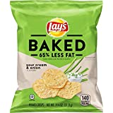 Lay's Oven Baked Sour Cream & Onion Flavored Potato Crisps, 1.125 Ounce (Pack of 64)