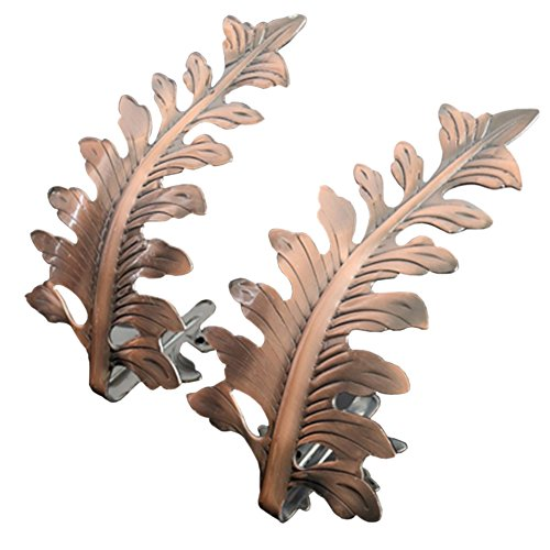 Joyci 1Pair Big Leaf Curtain Tiebacks Novelty Fashion Curtain Hook U Shape Wall Hook Simple Modren Curtain Holdbacks (Copper)