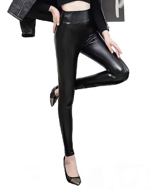 a6c0972e0f5744 heekpek Women Faux Leather Thick Warm Fleece Lined High Waisted Leggings  Trousers Slim Pants, Black