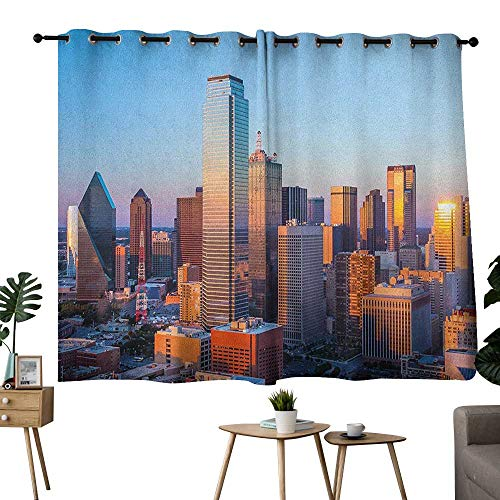 homecoco United States Grommets Party Darkening Curtains Dallas Texas City with Blue Sky at Sunset Metropolitan Finance Urban Center Curtain for Kids Room Multicolor W84 x L72