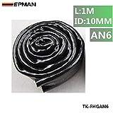 EPMAN High Temperature Heat AN6 Vulcan Fire Sleeve Fire Braid Flame Shield 3/8X1M ID:10MM (Black)