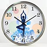 GuoEY Yoga Studio Weight-loss Practice Room Meditation Decoration Art Wall Clock Mute Hanging Table Silver, Size : S
