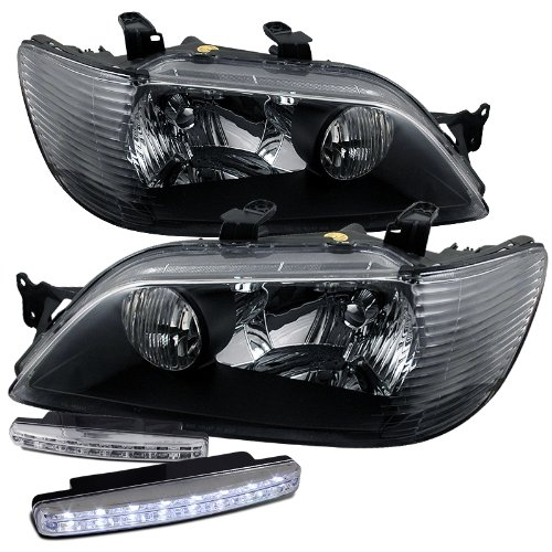 2002 2003 Mitsubishi Lancer Crystal Black Headlight Assembly