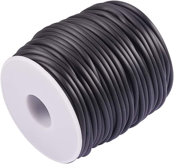 NBEADS 1 Rollo 30 m Rollo sólido Cuerda de Goma plástica para Manualidades, 2 mm, Bobina de plástico: 78 mm de Alto, 68 mm de Ancho, Caucho, Negro, 3.0 mm