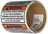 HellermannTyton 596-00497 Pre-Printed Solar Label, 3.75'' X 2.0'', WARNING - ELECTRICAL SHOCK HAZARD…, Orange/White (Pack of 50)