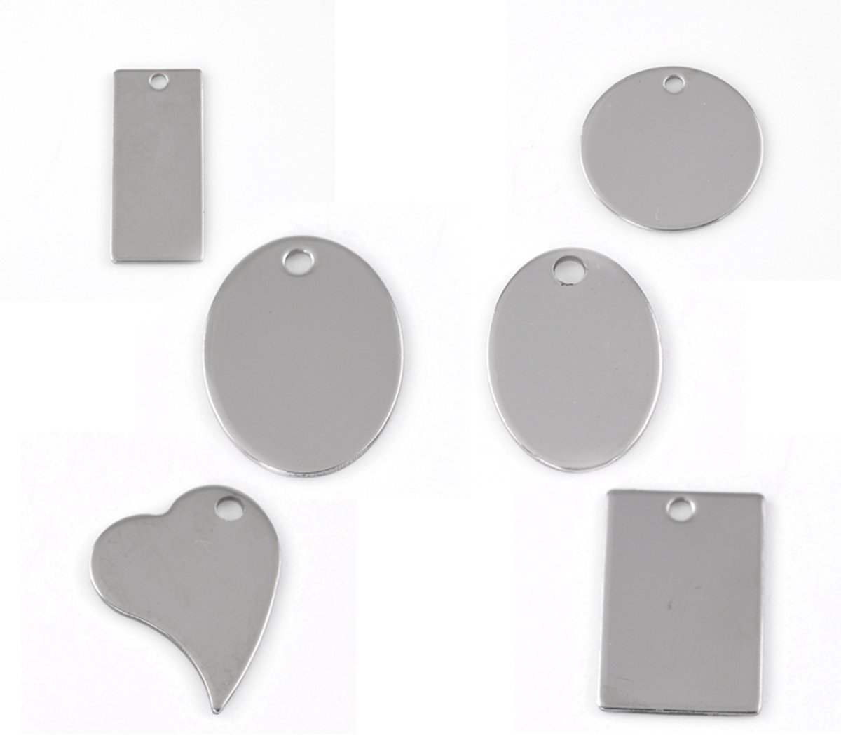 30pcs Silver Tone Stainless Steel Blank Stamping Tags Mixed Shape Charm Pendants 24x17mm-38x16mm TY BETY22138
