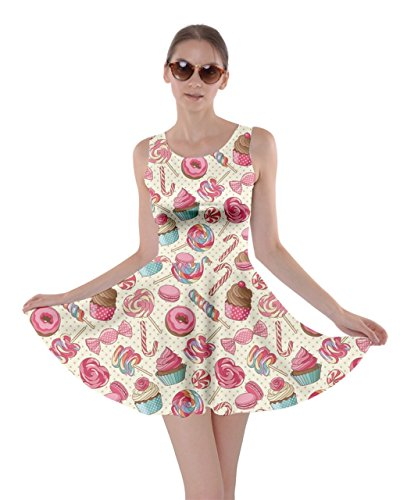 (CowCow Womens Pink Lollipop Candy Macaroon Cupcake Donut Skater Dress, Pink - L)