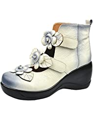 CUNZHAI Womens Unique Handmade Leather Casual Travel Soft Bottom Boot