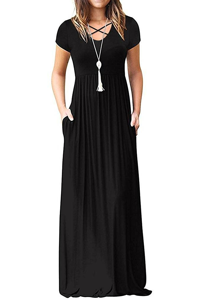 e979536cebd0f Quality First, Customer First, Service Best Features: flowy swing maxi dress,  solid color, two side pockets, elastic empire waist, floor-length, ...