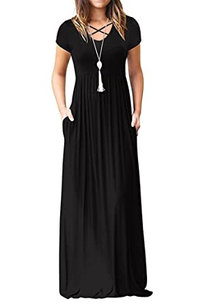 37cfef3e1b2a EZBELLE Women s Short Sleeve Maxi Dresses with Pockets Plain Loose Casual  High Waisted Long Dresses Black