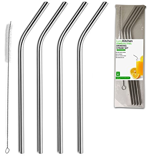 "Stainless Steel Drinking Straws, 9.5"" Long Length Straw, Set of 4, Free Cleaning Brush Included"