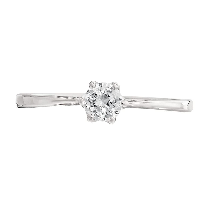 anillo de compromiso de diamantes de oro blanco con diamante solitario de