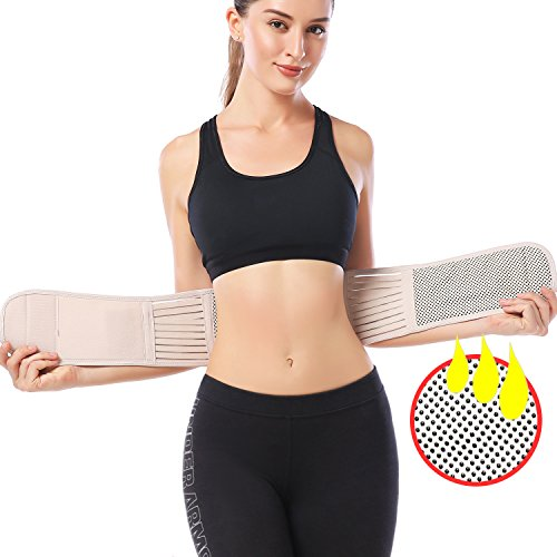 KOOCHY Lumbar Support Back Brace - Back Support Massage Belt with Self-Heating Magnetic Therapy - Helps Relieve Lower Back Pain and Stress ()