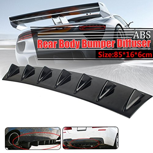 DODOING Universal ABS Plastic Lower Rear Body Bumper Diffuser Shark 7 Fin Kit PU Spoiler Gloss Black Abs Plastic Body