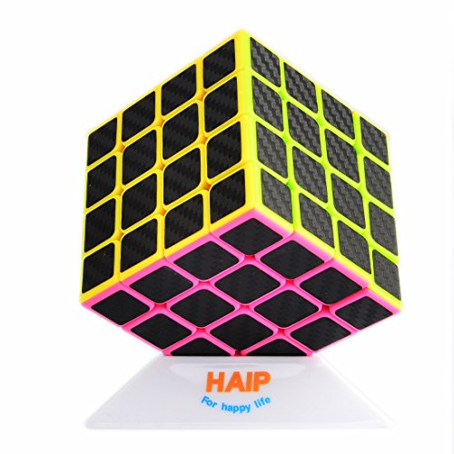Puzzle Cube, Haip 4x4x4 Carbon Fiber Sticker Speed Smooth Magic Cube (Base Holder Included)
