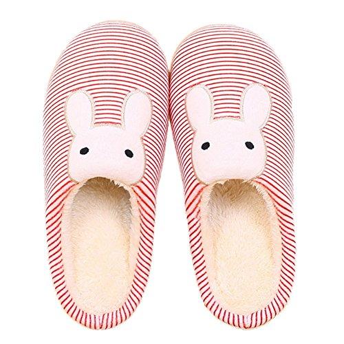 CYBLING Womens Lovely Bunny Comfort Plush House Cotton Slipper Anti-Skid Sole Red CMJdu