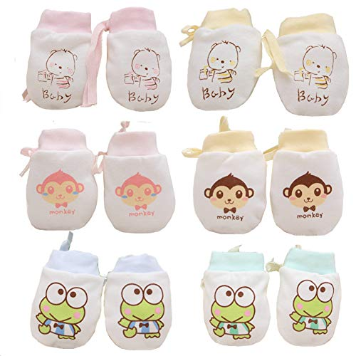 Adeimoo Cute Boys Girls Cotton No Scratch Gloves Drawstring Adjustable Mittens for Baby Infants (Colorful C)