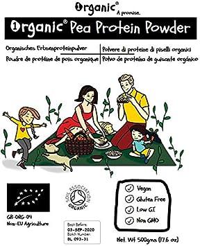 Polvo de proteína de guisante cruda (Pea Protein), Certificado 100% ORGÁNICO, Puro, Natural, 500g