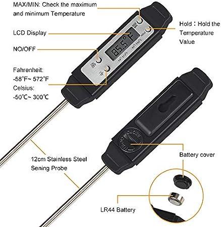 Termómetro digital para carne - Termómetro para alimentos de lectura instantánea con sonda súper larga, el mejor termómetro ultrarrápido para barbacoa, dulces, cocina al aire libre, parrilla y líquido