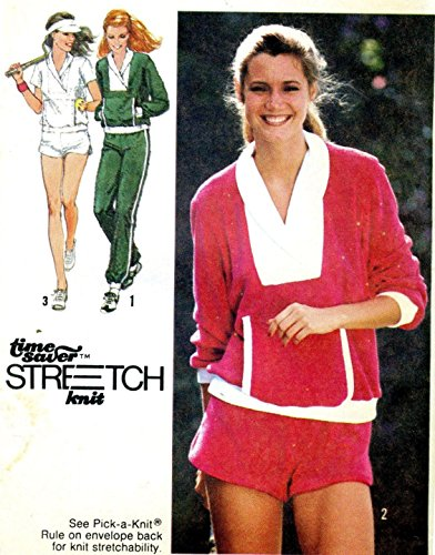 Simplicity vintage sewing pattern 9041 banded bottom knit top and warmup pants - Size 12-14-16 (1970s Knit Top)