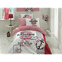 New York Sailing Club, Nautical Bedding Set, Sailor Quilt/Duvet Cover Set, %100 Cotton, Single/Twin Size, COMFORTER INCLUDED, 4 PCS