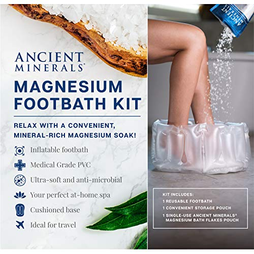 Ancient Minerals Inflatable Foot Bath Kit with Single-Use Magnesium Chloride Flakes Pouch - Great for Travel or at-Home Spa (Epsom Salt Vs Dead Sea Salt Bath)