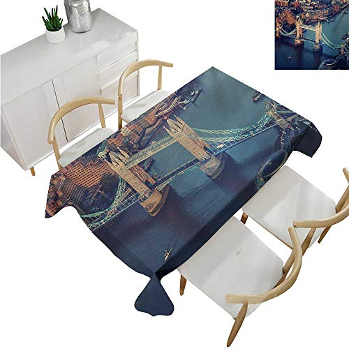 familytaste London,Tablecovers Rectangular,London Aerial View with Tower Bridge at Sunset Internatinal Big Old UK British River,Table Cloth Cover Wedding Event Party 50