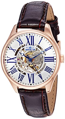 Invicta Women's 'Vintage' Automatic Stainless Steel and Leather Casual Watch, Color:Brown (Model: (Automatic Leather Ladies Watch)