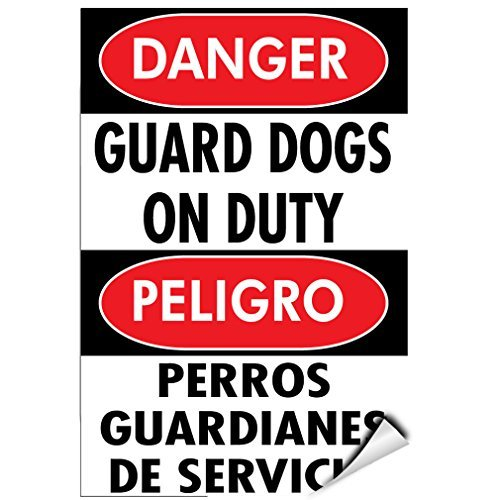 Danger Guard Dogs On Duty Pet Animal Sign Label Decal Sticker Vinyl Label 7 X 10 Inches