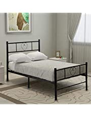 Aingoo Metal Bed Solid Beds Frame With Large Storage Space Children Adults Black