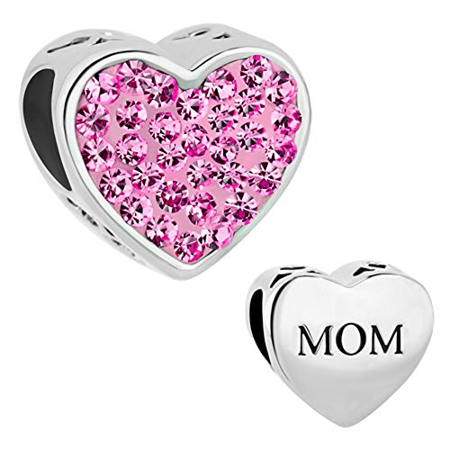 (CharmSStory Mom Mother Charm Heart I Love You Simulated Birthstone Synthetic Crystal Beads For Bracelets)