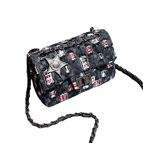 Street Quilted Body Badges 2018 Black Classic Mini Clutch Handbag Women Bag Shoulder Denim Chain Bags Lock Fashion Cross wwBHF