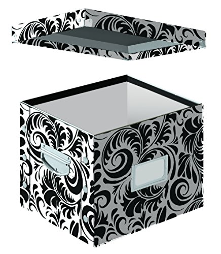 Snap-N-Store Letter Size File Box, 11 x 14 x 1 Inches, Black and White Scroll Design (SNS01836) - Black Filing Storage Cabinet