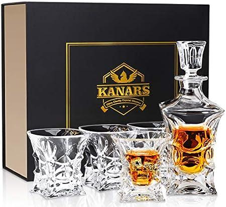 KANARS Jarra de Whisky, 5 Piezas, 100% Libre de Plomo Cristalino Resistente Botella de Whisky Set para Scotch, Bourbon, 450ml Decantador y 4 Vasos de Whisky 230ml, Hermosa Caja de Regalo