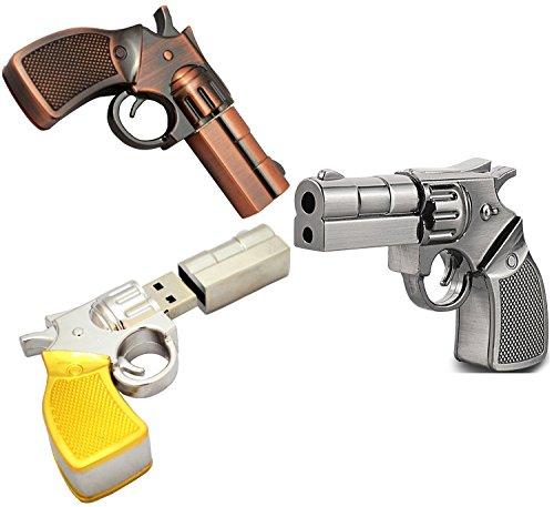 WooTeck 3 Pack 32GB Metal Revolver Pistol Gun USB Flash Drive Memory Stick(Copper,Livid,Golden)