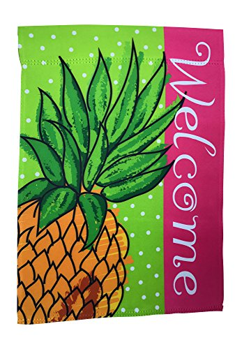 Small Summer Welcome Garden Yard Flag 12 x 18 inch Double Sided, Pineapple Gifts Stuff Front Porch Decor; Seasonal Tropical Outdoor Mini Lawn Flags; Hawaiian Luau Party Housewarming Decorations (Hill Outdoor Hanging Wall)