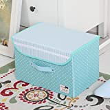 Collapsible Clothes Organizer Basket Bins with Over-sized Space, Removable Dividers, Handles and Cover for Under-bed Storage , A