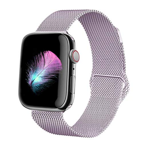 HILIMNY Compatible for Apple Watch Band 38mm 40mm 42mm 44mm, Stainless Steel Mesh Milanese Sport Wristband Loop with Adjustable Magnet Clasp for iWatch Series 1/2/3/4,Lavender