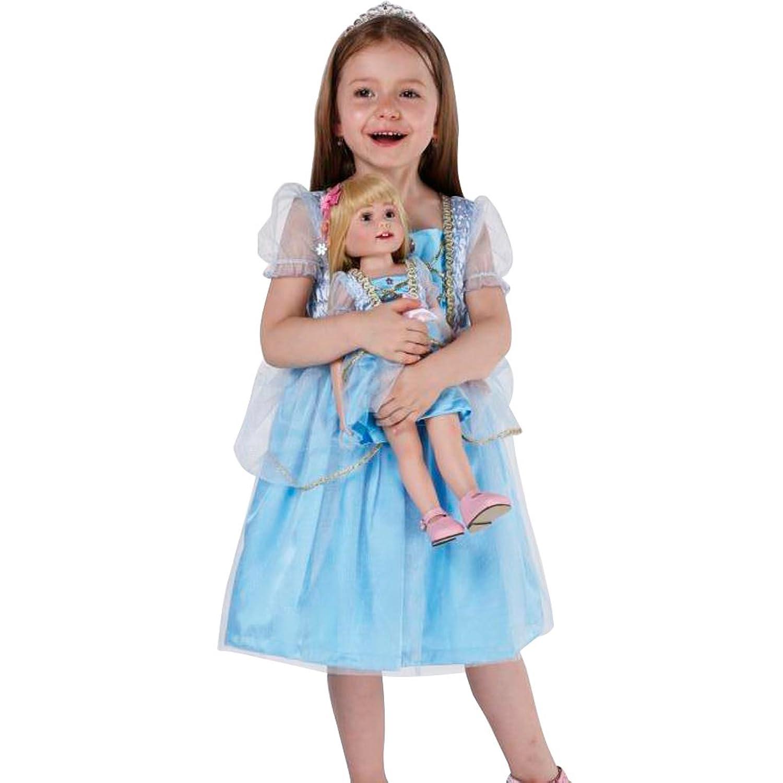 Alice Dressy Blau Princess Blummen Maedchen Kleid Partykleid Kurz Festkleid Formalkleid Knielang mit Doll