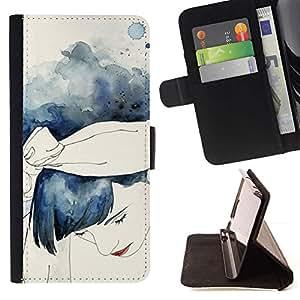 Momo Phone Case / Flip Funda de Cuero Case Cover - Watercolor Girl Blue Hair - Samsung Galaxy S5 Mini, SM-G800