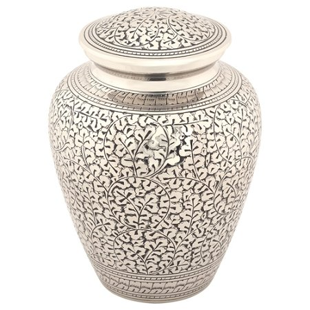 Silverlight Urns Leaves of Silver Cremation Urn, Adult Brass Funeral Urn for Ashes, 9.25 Inches Tall