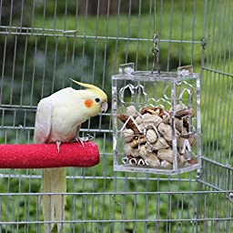 KINTOR Parrot Creative Foraging Toy Feeder Bird Cage, Big Size 4.8x3.6x2.6inch