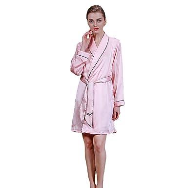 Femme Soie De Gemvie Vêtement Manches Pyjama Longues Rose À En Nuit p5xwRqZSx