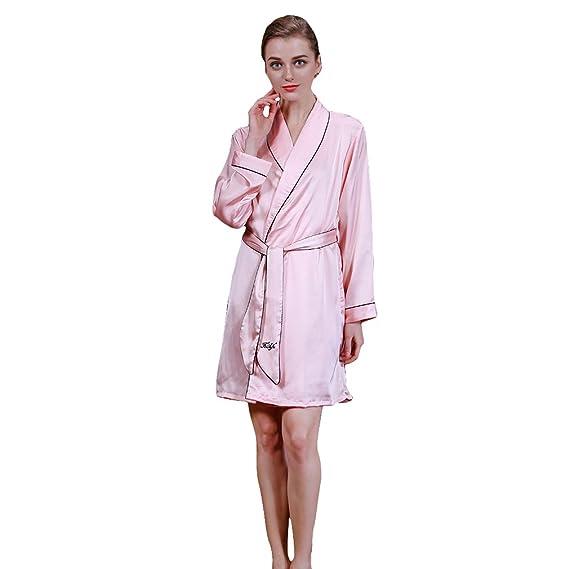 premier taux ff60a 74280 GEMVIE Pyjama Femme Rose à Manches Longues en Soie Vêtement ...