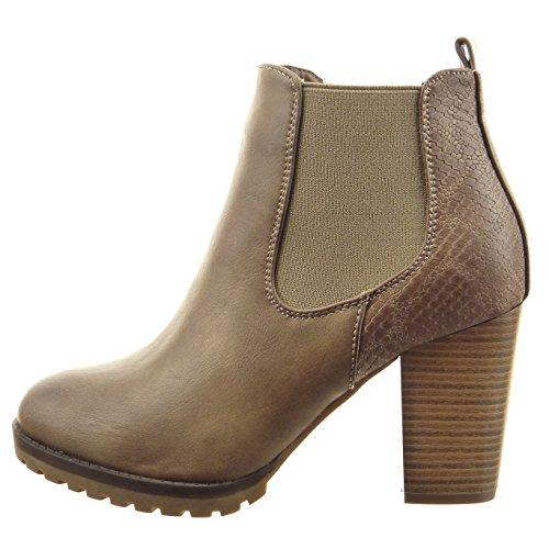 Sopily Damen Mode Schuhe Stiefeletten Chelsea Boots Schlangenhaut - Khaki