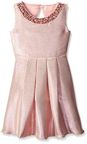 Rare Editions Big Girls' Metallic Social Dress, Blush, 14