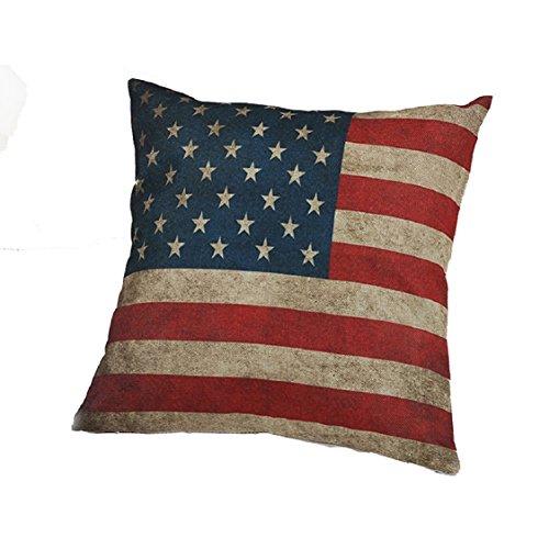 Ikevan Vintage Square American Flag Pillow Case Sofa Waist